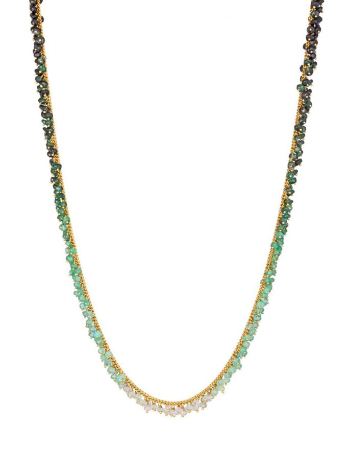 Photo of emerald beaded necklace with ombre effect on white background
