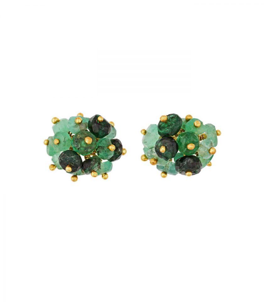 Photo of emerald beaded stud earrings on white background