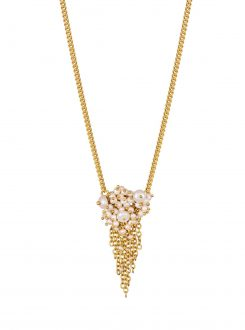 Photo of beaded pearl necklace with gold chain on white background