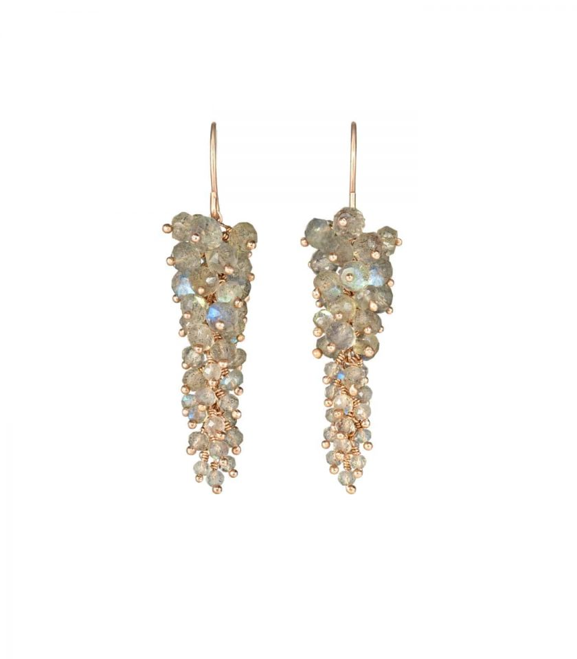 Long drop earrings with labradorite stones and rose gold