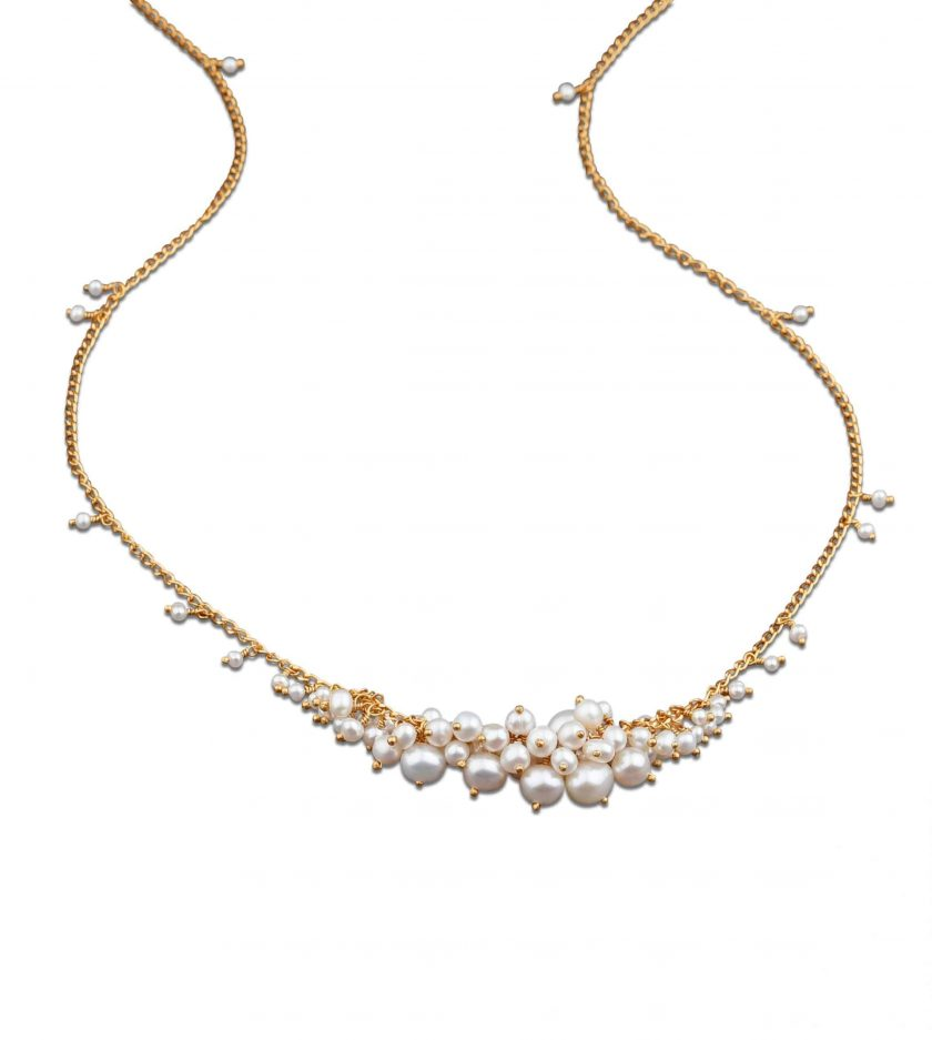 Photo of pearl and gold necklace on white background