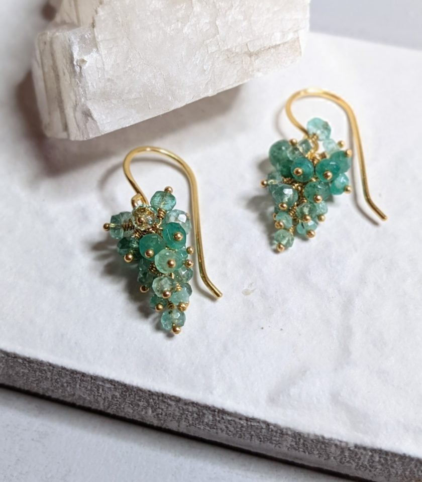 Emerald and gold vermeil beaded earrings