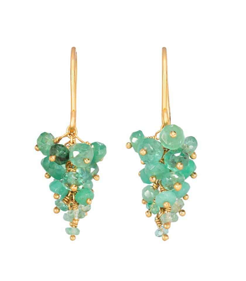 Photo of emerald beaded earrings with gold plated silver, on white background.