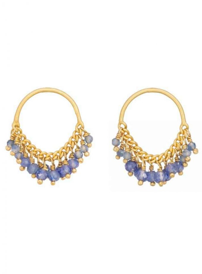 Sapphire and gold stud beaded earrings, loop shaped.