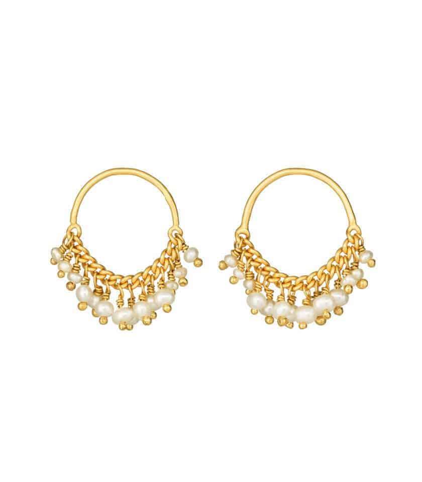 Pearl and Gold Loop Stud Earrings