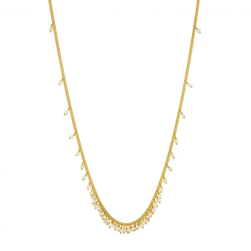 Picture of pearl necklace on white background