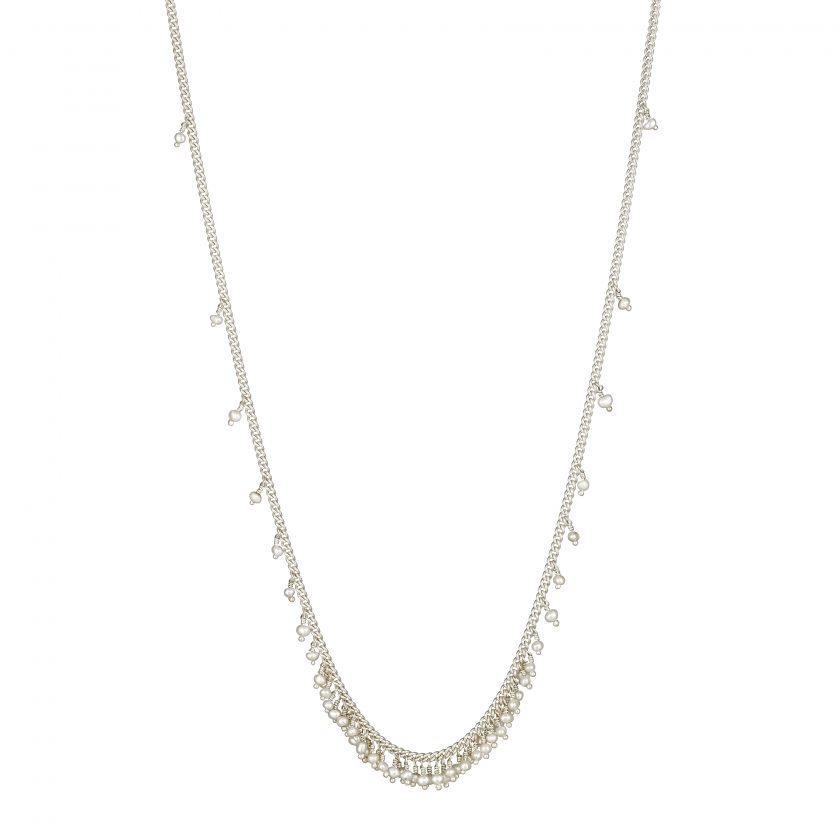 Photo of pearl and oxidised silver necklace on white background