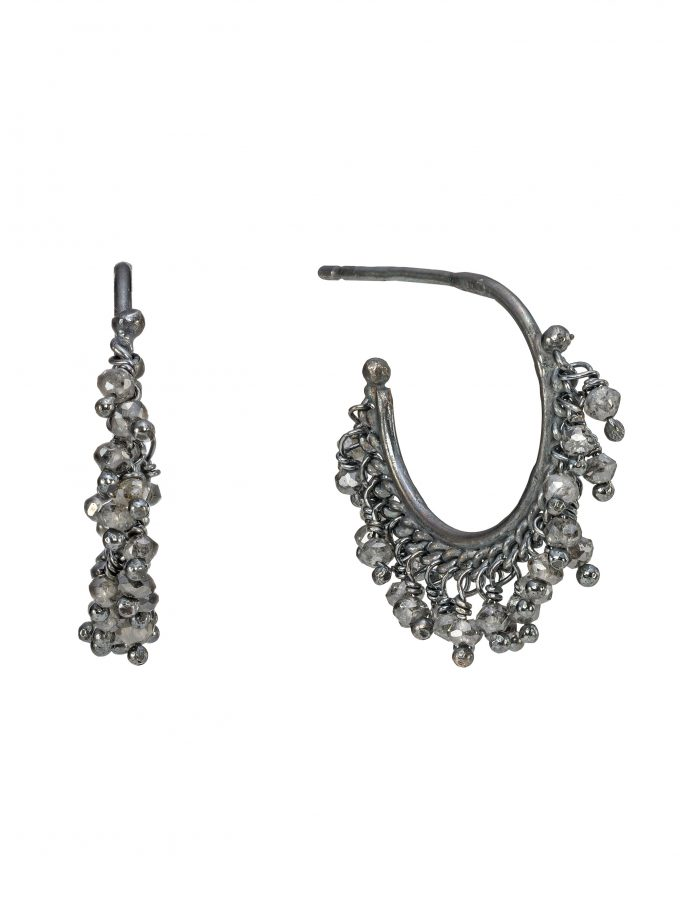 Diamond Beaded Hoop Earrings