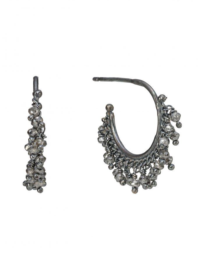 Diamond Beaded Hoop Earrings