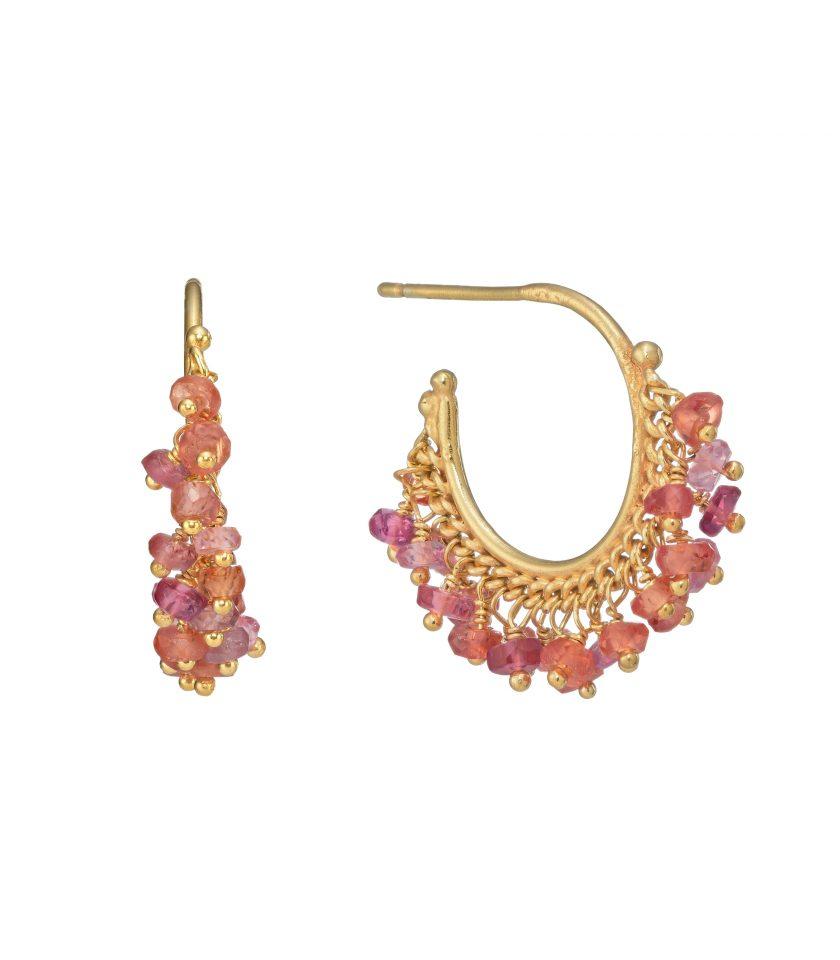 Photo of a pair of orange sapphire hoop earrings