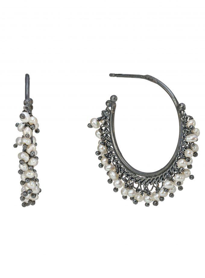 Photo of oxidised silver and pear beaded hoop earrings