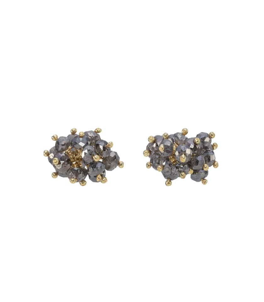 Photo of diamond stud earrings with 18 carat gold on white background
