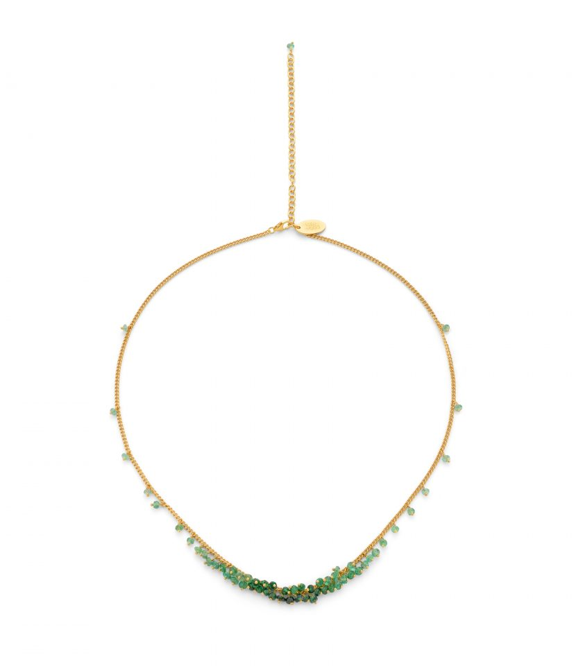 Photo of a emerald beaded necklace on gold vermeil chain.