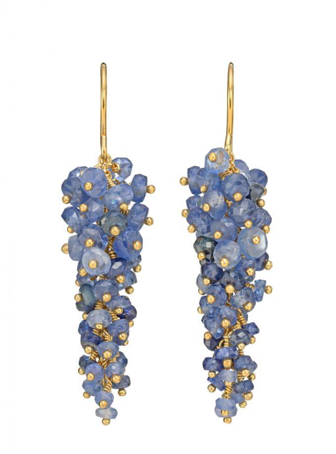 Photo of blue sapphire drop earrings.