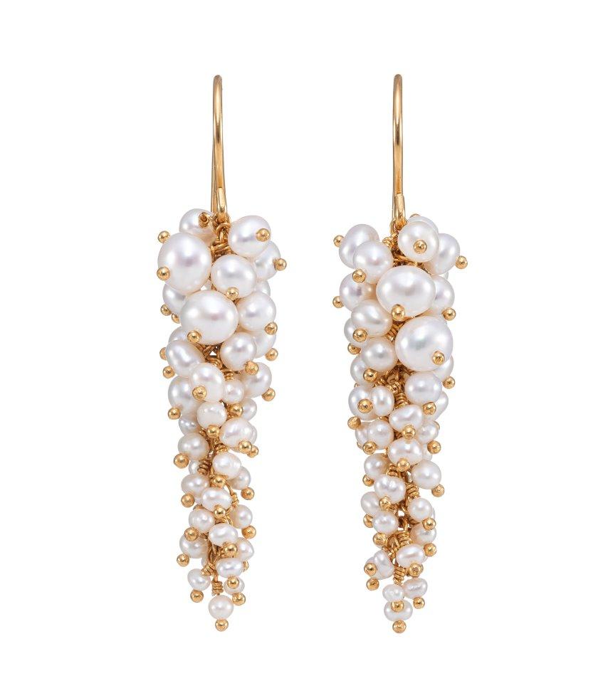 Pearl drop earrings in gold vermeil by Kate Wood Jewellery
