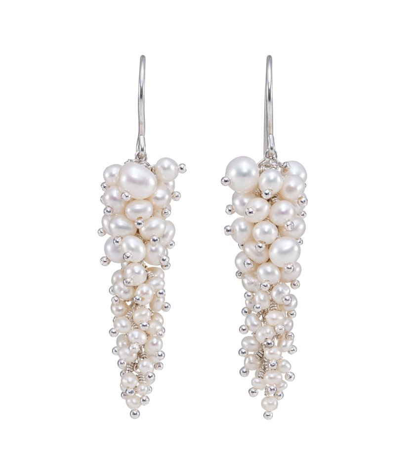 Pearl and Silver Wisteria Earrings by Kate Wood Jewellery