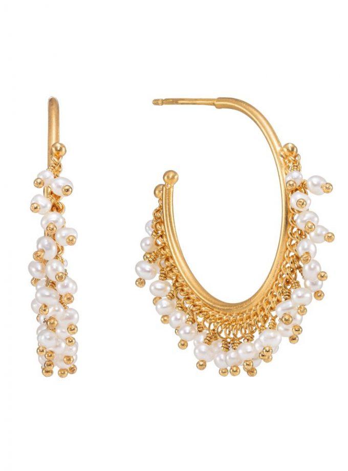 Pearl Hoop Earrings in Gold Vermeil